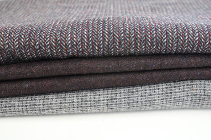 lot of vintage wool & tweed fabric for sewing or rug making, grey shades