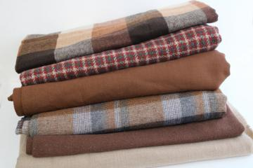 lot of vintage wool & tweed fabric for sewing or rug making, tan & brown shades