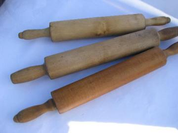 lot of wood rolling pins from old farm kitchen, vintage kitchenware