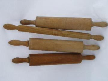 lot of wood rolling pins & pastry pin from old farm kitchen, vintage kitchenware