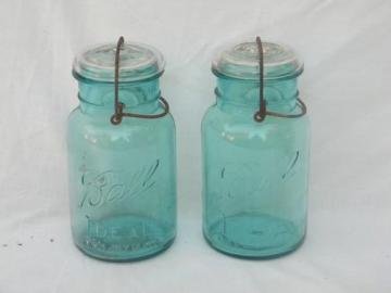 lot old 1908 1 qt aqua blue Ball Ideal mason jars/canisters, lightning lids