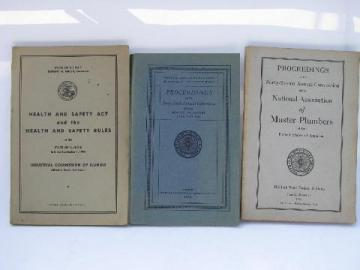 lot old 1920s & 1940s industrial safety rules & master plumbers conventions