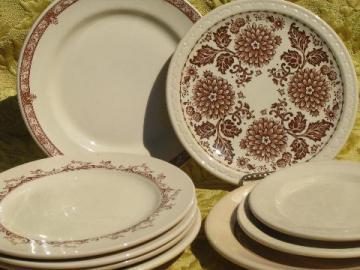 lot old adobe tan restaurant china plates, assorted vintage patterns