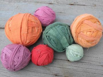 lot old all cotton solids rug strips rag balls, faded vintage colors