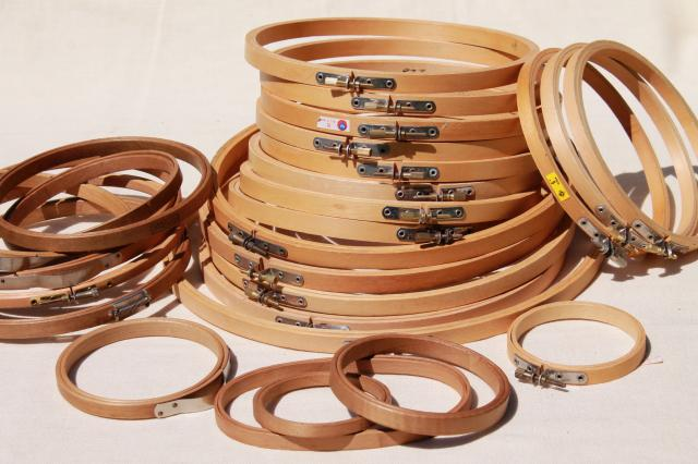 lot old and new wood embroidery hoops assorted hoop sizes for hooped needlework frames or sewing - Embroidery Frames