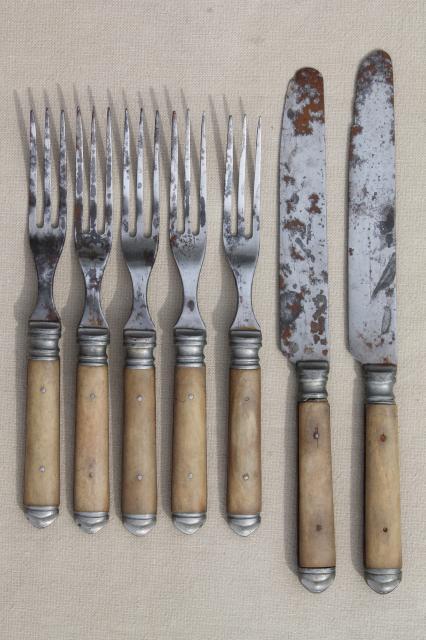 Lot Old Antique Bone Handled Steel Forks Amp Knives Civil War Vintage Flatware