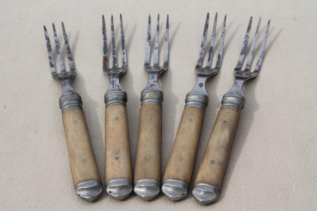 Lot Old Antique Bone Handled Steel Forks Amp Knives Civil