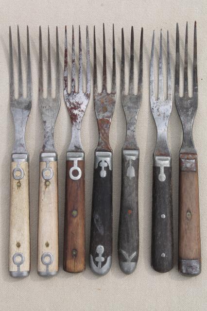lot old antique bone handled / wood handle steel forks