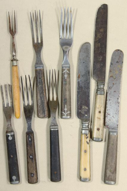 lot old antique bone & wood handled steel forks & knives, Civil War vintage flatware