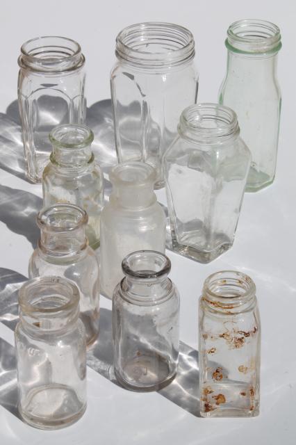 Lot Old Antique Glass Food Jars Condiment Bottles