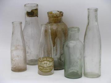 lot old antique glass jars, vintage condiment, olive and pickle bottles
