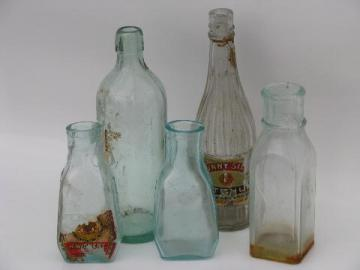 lot old antique glass jars, vintage condiment, olive or pickle bottles