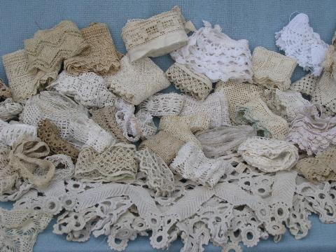 Lot Old Antique Vintage Cotton Crochet Lace Edgings Insertions Trims