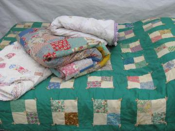 lot old antique vintage patchwork quilts for cutting, cutters