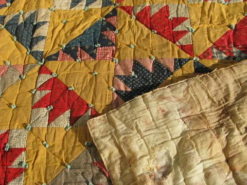 lot old antique vintage patchwork quilts & wool filled comforter