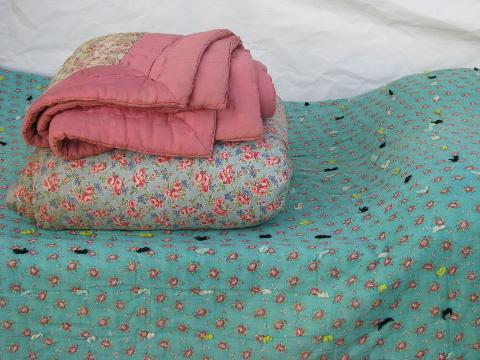 lot old antique vintage wool filled comforters, whole cloth quilts