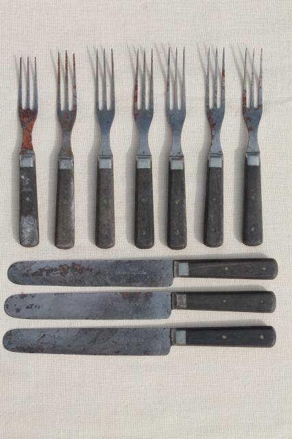 Lot old antique wood handled steel forks knives civil war vintage flatware - Flatware with wooden handles ...