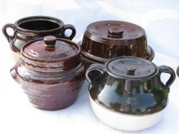 lot old crock jar bean pot bakers, vintage stoneware pottery kitchen crockery