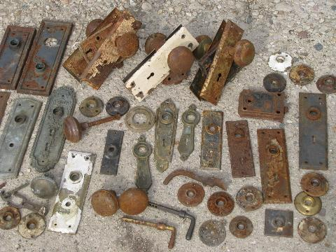lot door hardware vintage antique locks doorknobs escutcheon face plates laurel leaf farm item for sale knobs parts