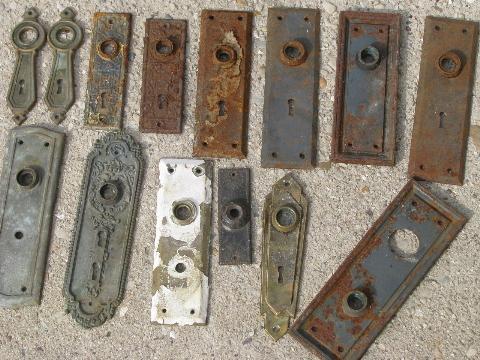 Lot Old Door Hardware Vintage Antique Locks Doorknobs Escutcheon