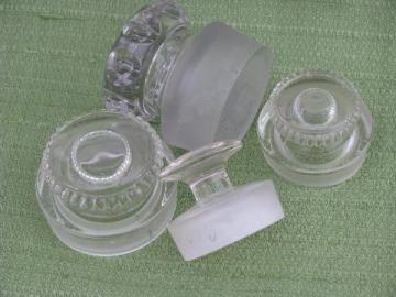 lot old glass apothecary pharmacy bottle stoppers, antique vintage