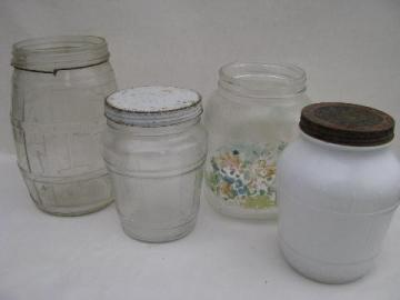 lot old glass food jars, depression vintage kitchen canisters