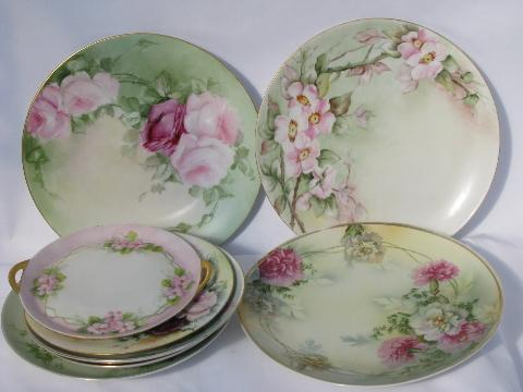 Lot Old Hand Painted China Plates W Flowers Antique
