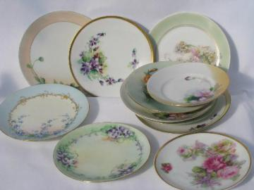 lot old hand-painted china plates w/ flowers, antique vintage Bavaria, Prussia etc.