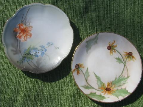 lot old hand-painted flowered porcelain plates, antique and vintage china