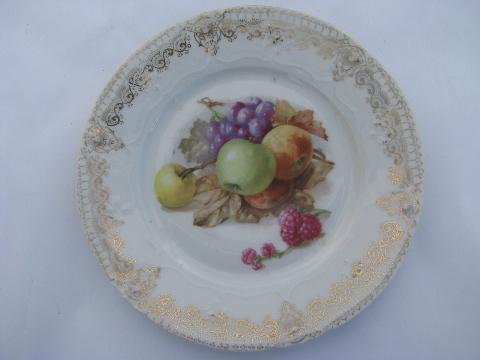 lot old hand-painted porcelain plates w/ fruit, antique vintage Bavaria china