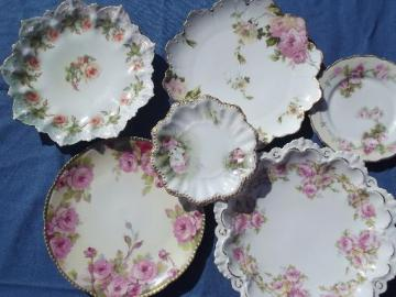 lot old hand-painted roses porcelain plates, antique and vintage china