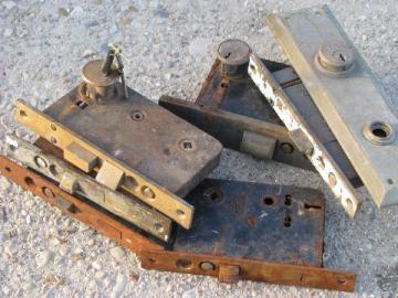 lot old hardware, vintage keyed latch & deadbolt mortise box locks, brass plates