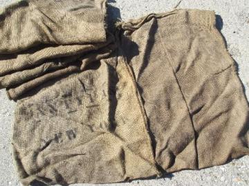 lot old heavy burlap sacks, primitive vintage grain bags from Africa