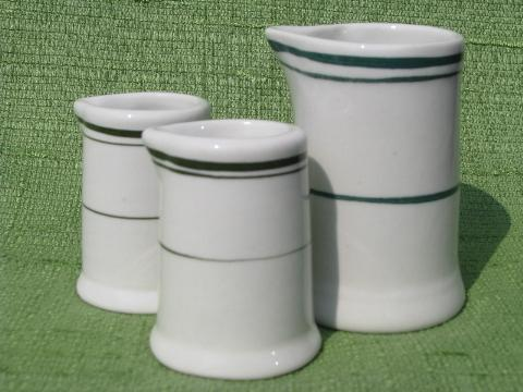 lot old individual creamers, vintage restaurant ware ironstone china