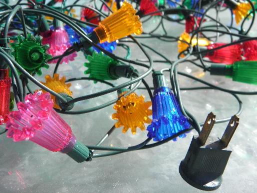 - Lot Old Midget Christmas Tree Lights, Fancy Plastic Flower Reflectors