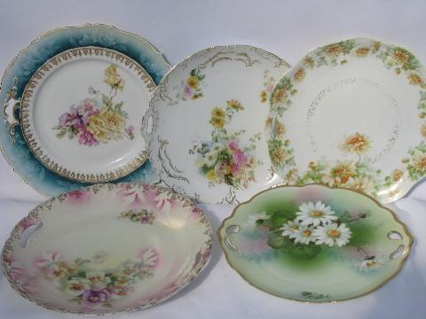 Lot Old Painted China Handled Plates W