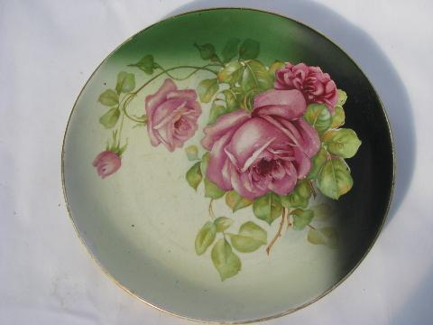 lot old painted china plates w/ roses antique vintage Bavaria Limoges etc. & old painted china plates w/ roses antique vintage Bavaria Limoges etc.