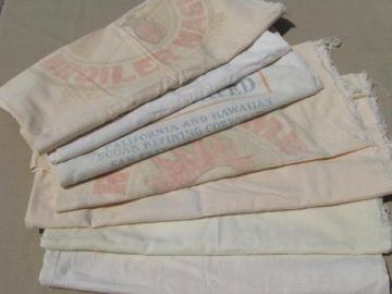 lot old print graphics cotton feedsacks, vintage Hershey sugar sacks
