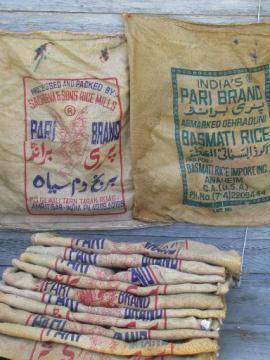 lot old printed burlap grain sacks, big rice bags for wholesale cargo