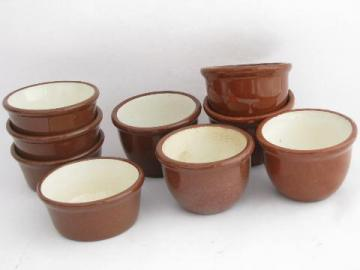 lot old redware, vintage Guernsey ware & Weller pottery ramekins, small crocks