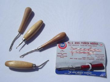 lot old steel punch needles and latch hook rug hooking rug making tools