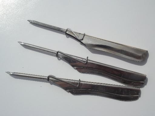 Lot Old Steel Punch Needles For Thick Yarn Embroidery Or Rug Hooking