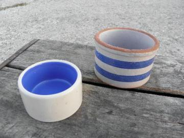 lot old stoneware butter tub crocks, vintage blue band pottery