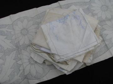 lot old vintage antique linens stamped to embroider, linen towels etc. for needlework