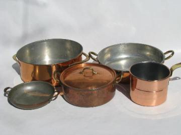 lot old vintage solid copper / brass kitchen pots & pans, Dansk etc.