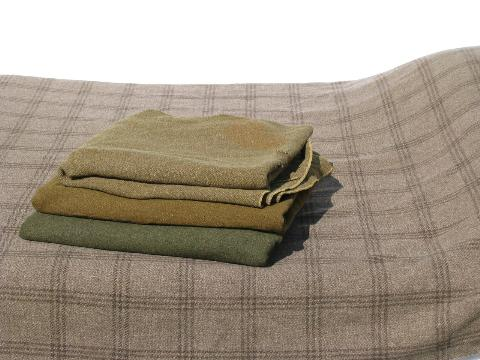 lot old vintage wool army & camp blankets, drab green, tan plaid