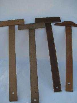 lot old wood T squares, vintage wooden drafting tools