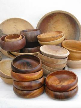 lot old wooden ware, vintage wood bowls for painting, rosemaling