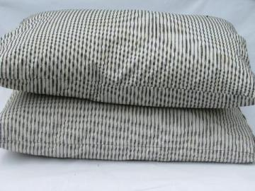 lot primitive old feather pillows, vintage blue stripe ticking