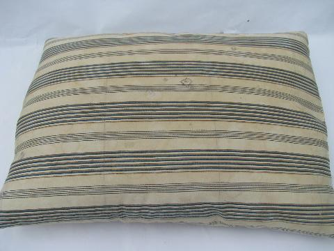 lot primitive old feather pillows, vintage brown and blue stripe ticking